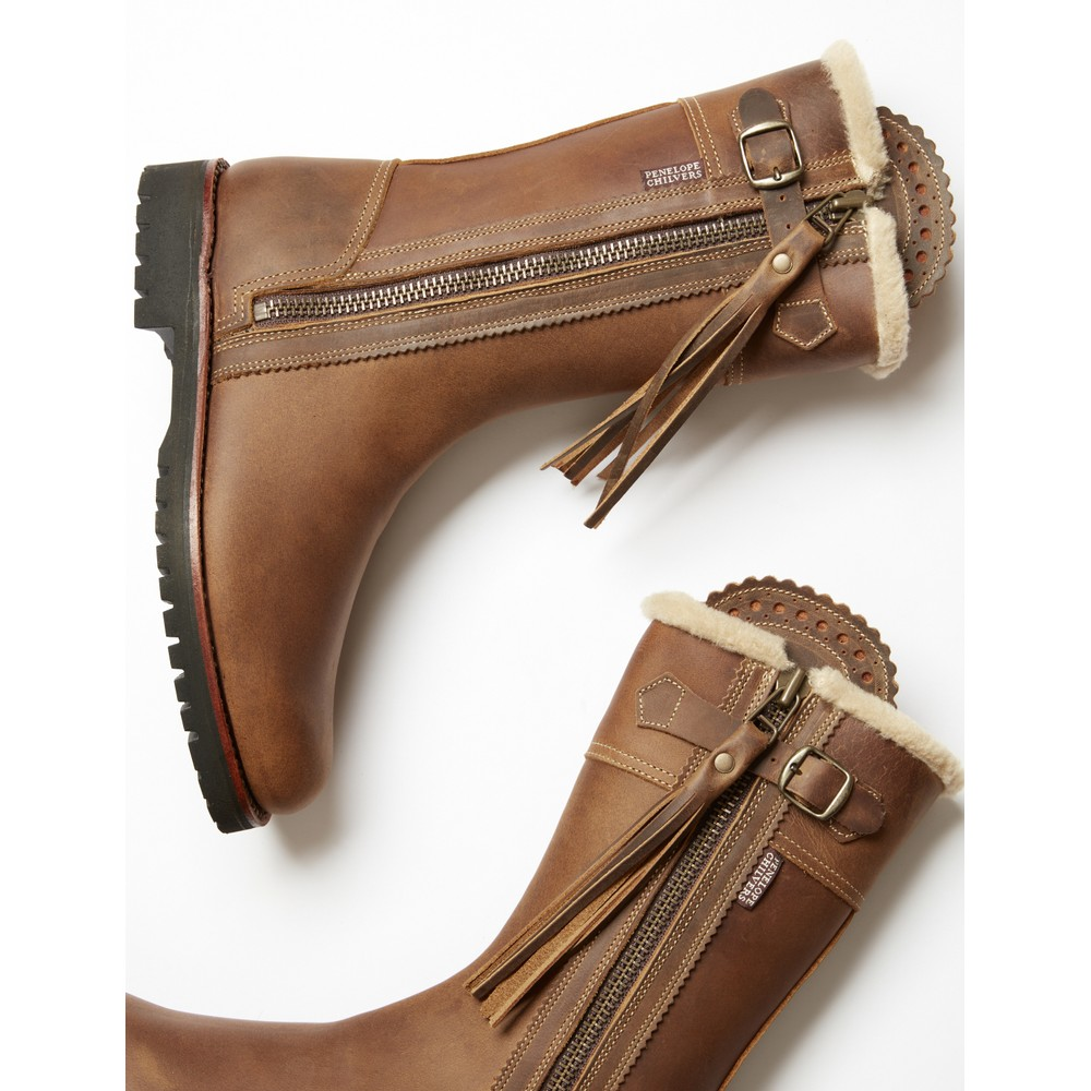 Penelope Chilvers Midcalf Lined Tassel Boot Biscuit