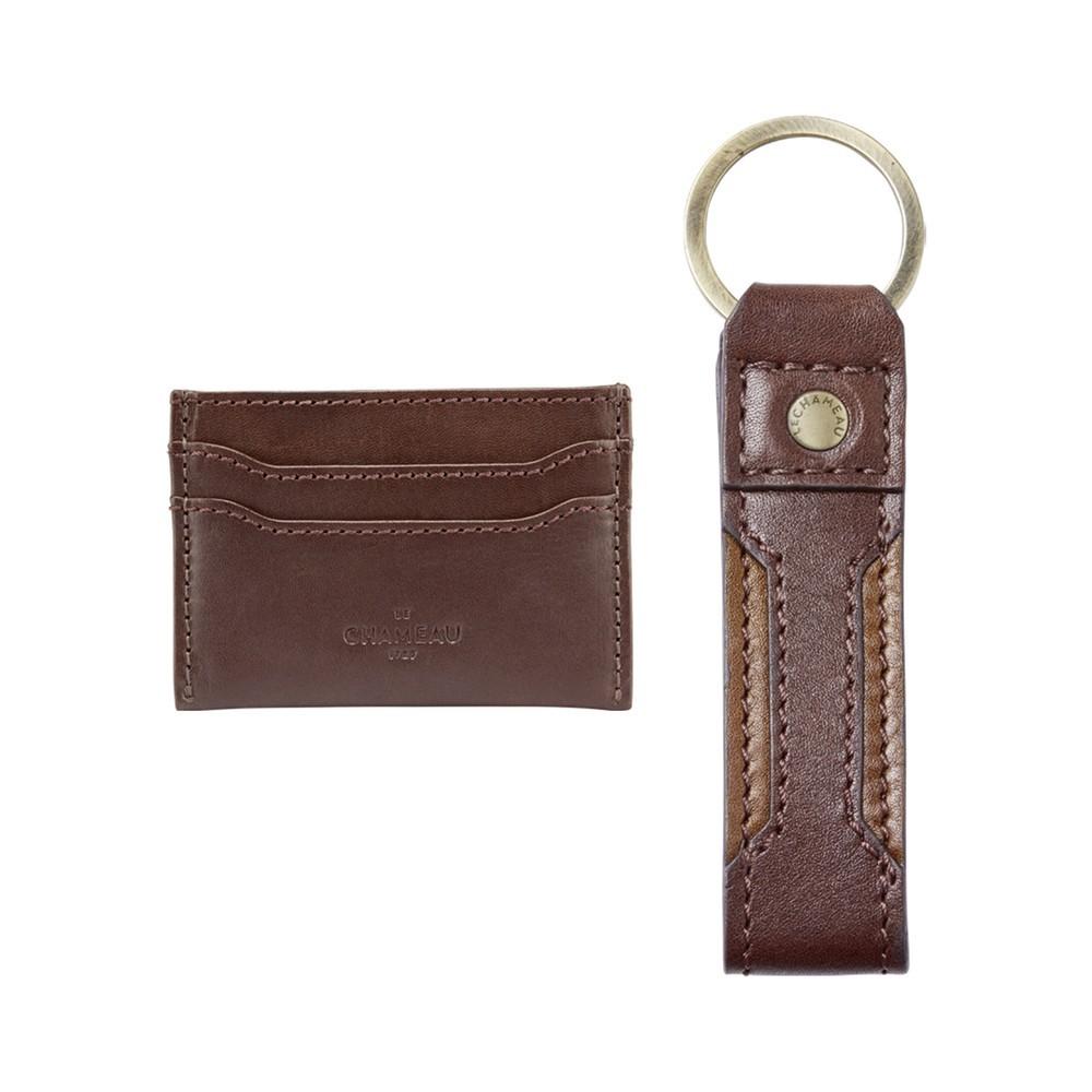 Le Chameau Key Ring & Card Wallet Gift Set Marron Foncé