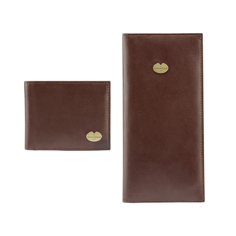 Le Chameau Bi-Fold Wallet & Licence Wallet Gift Set Marron Foncé