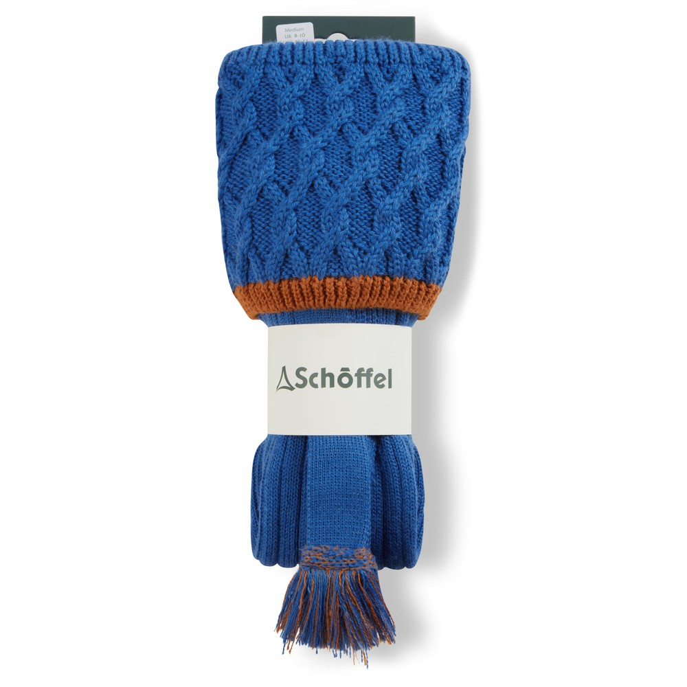 Schoffel Lattice Sock Sea Blue/Burnt Orange