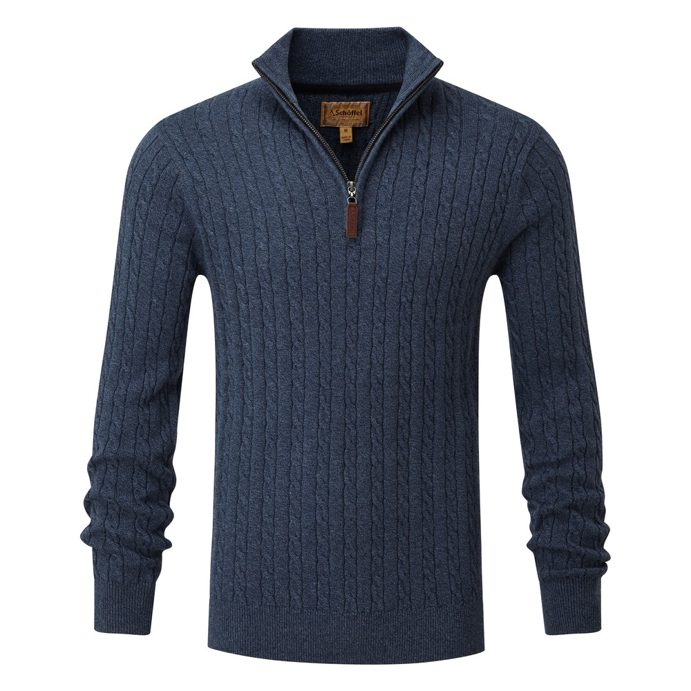 Schoffel Cotton Cashmere Cable 1/4 Zip Jumper Dark Denim