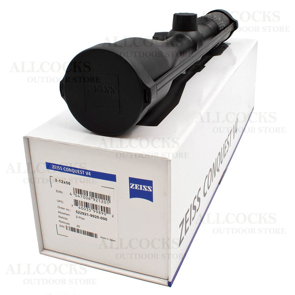 Zeiss Conquest V4 Riflescope - 3-12x56 - Reticle #20 Black