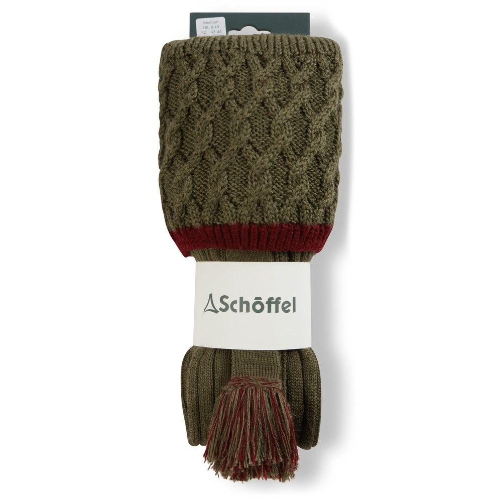 Schoffel Lattice Sock Olive/Claret