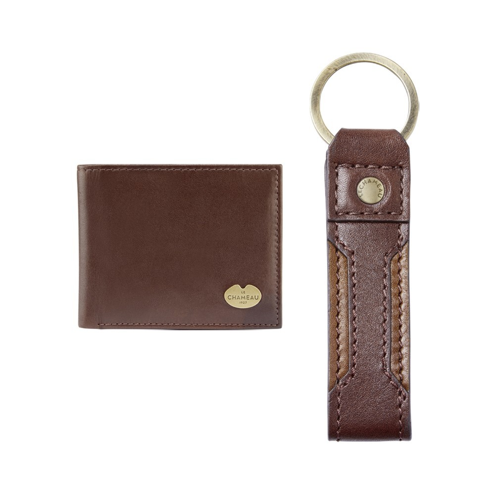 Le Chameau Key Ring & Bi-Fold Wallet Gift Set Marron Foncé