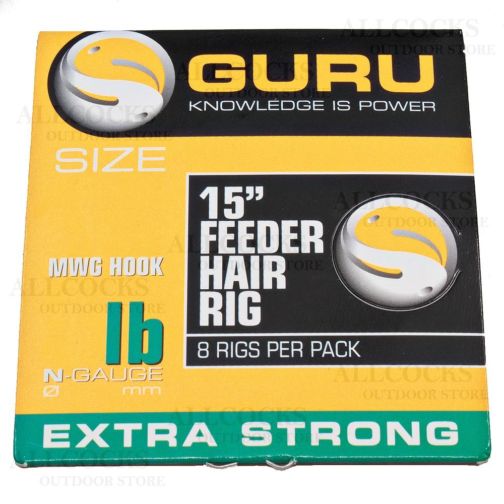 """Guru Feeder Hair Rigs - 15"""" - MWG Hook"""