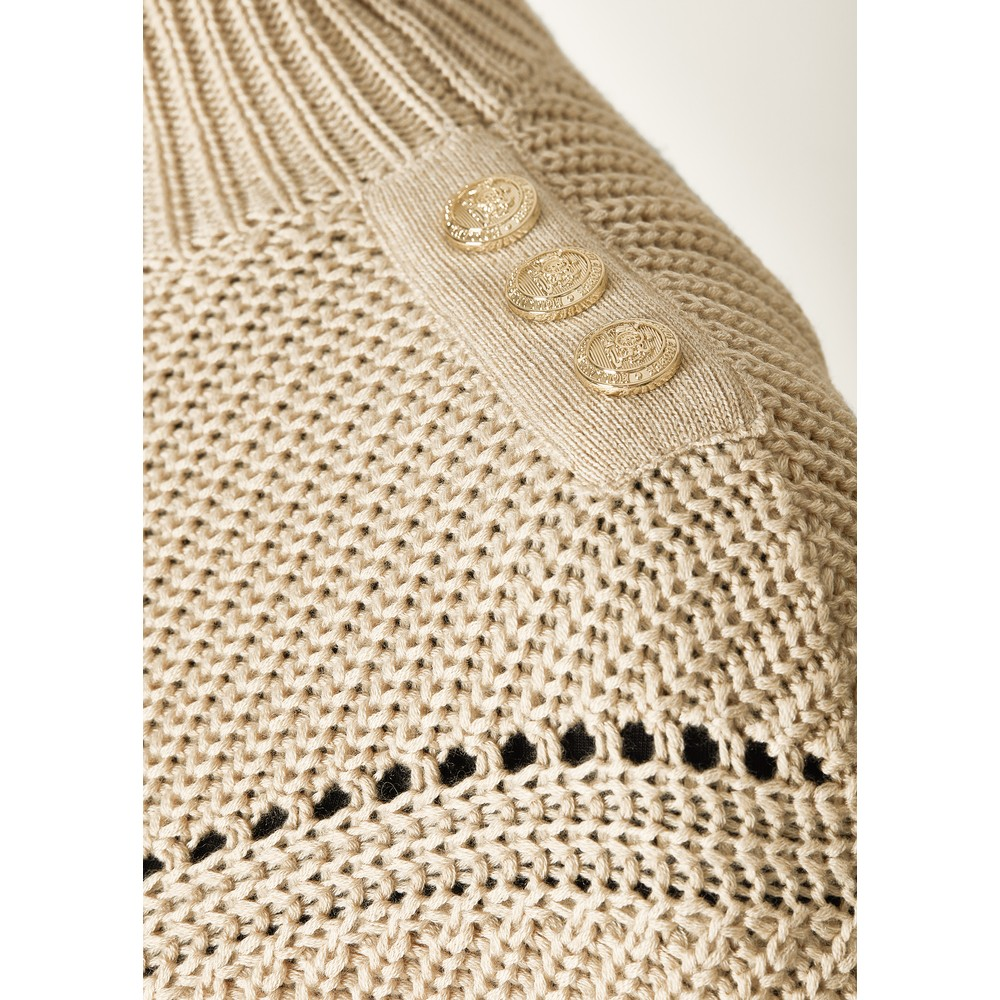 Holland Cooper Chunky Pointelle Knit Oatmeal