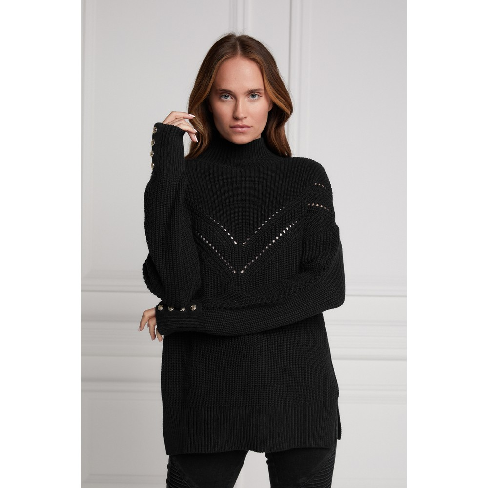 Holland Cooper Chunky Pointelle Knit Black