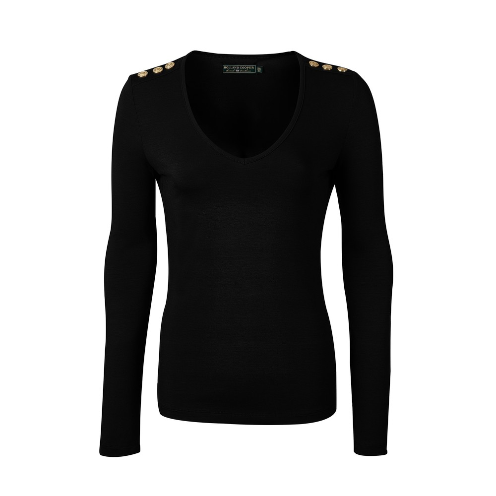 Holland Cooper Holland Cooper Long Sleeve Vee Neck Tee