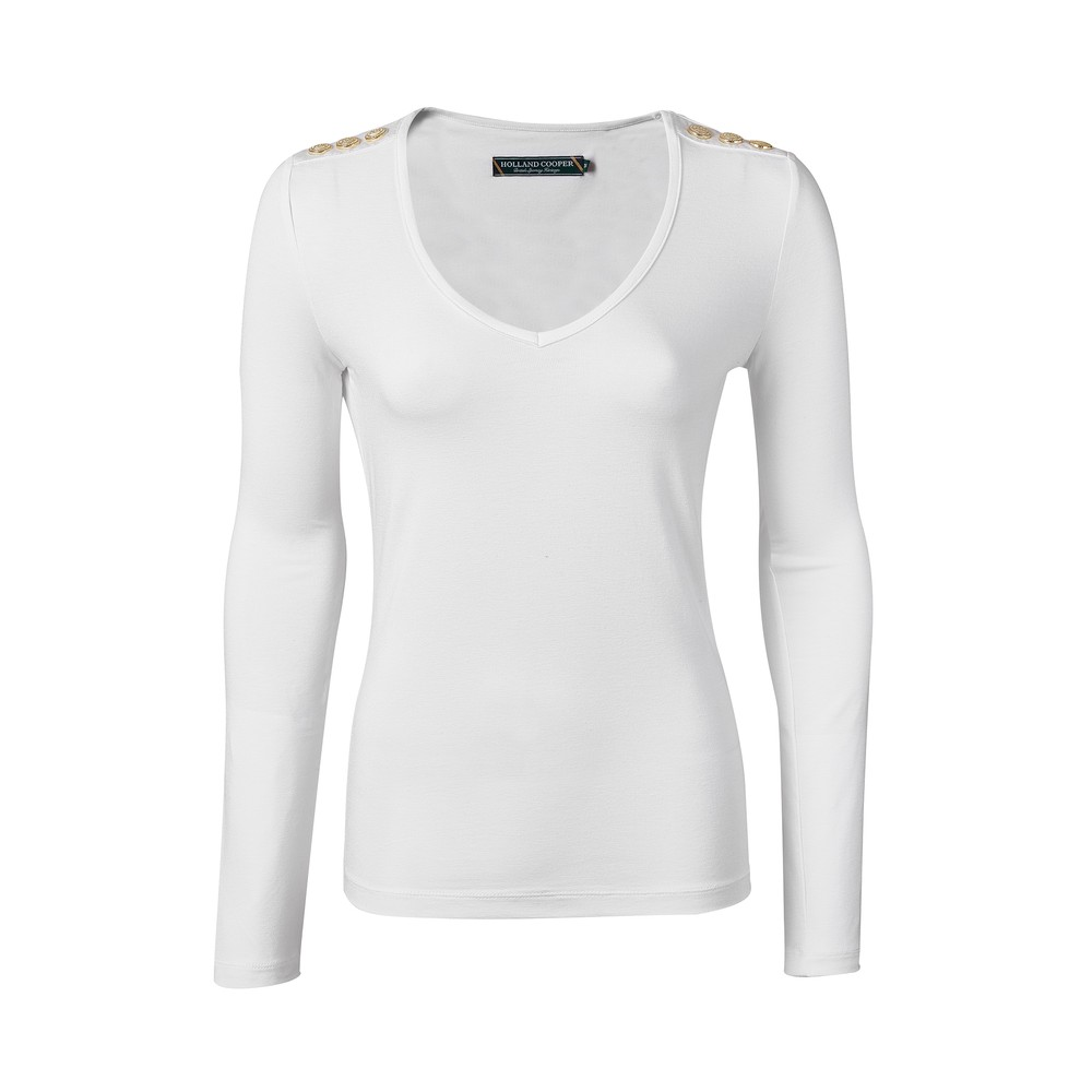 Holland Cooper Long Sleeve Vee Neck Tee White