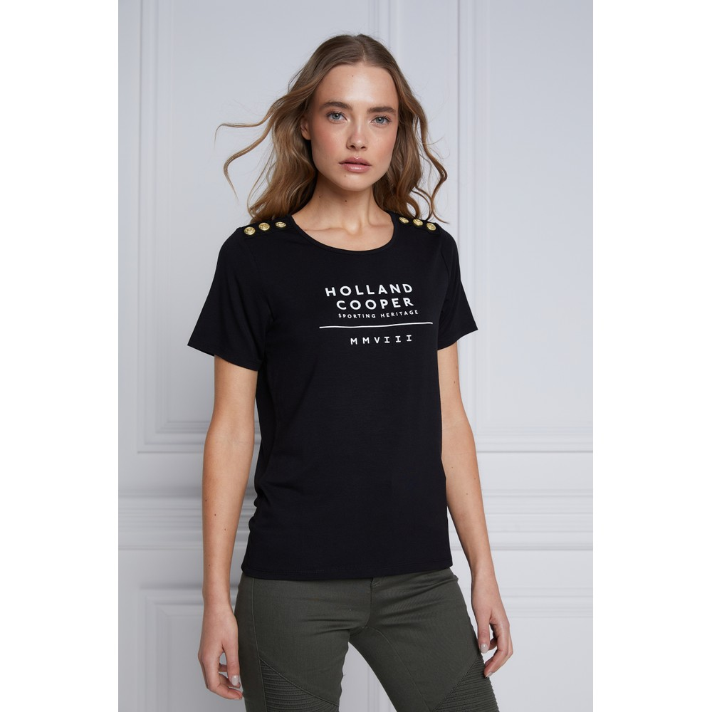 Holland Cooper Serif Tee Black-White