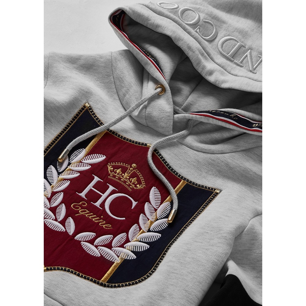 Holland Cooper Crested Hoodie Ice Grey Marl