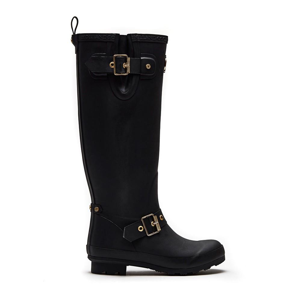 Holland Cooper Sherpa Lined Regency Wellington Boots Matte Black