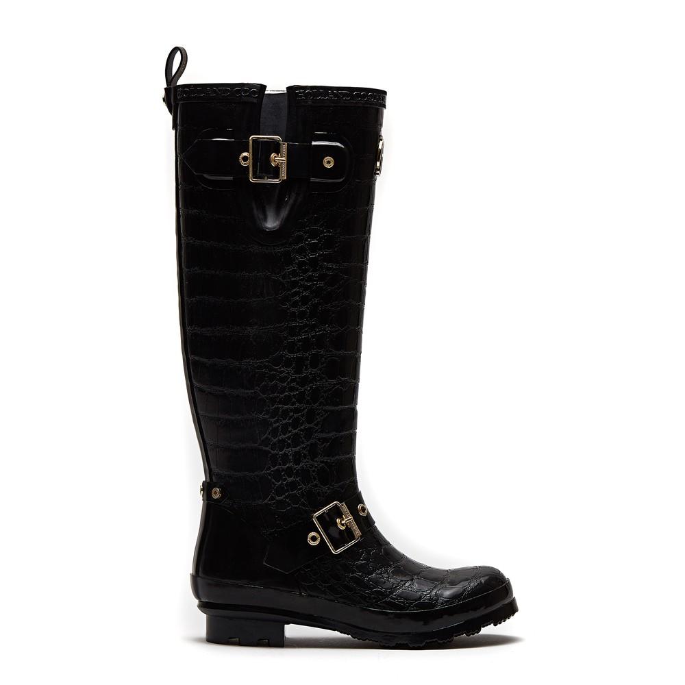Holland Cooper Sherpa Lined Regency Wellington Boots Black Croc