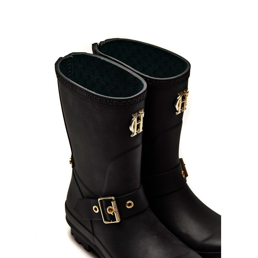 Holland Cooper Short Zip Chelsea Wellington Boots Matte Black