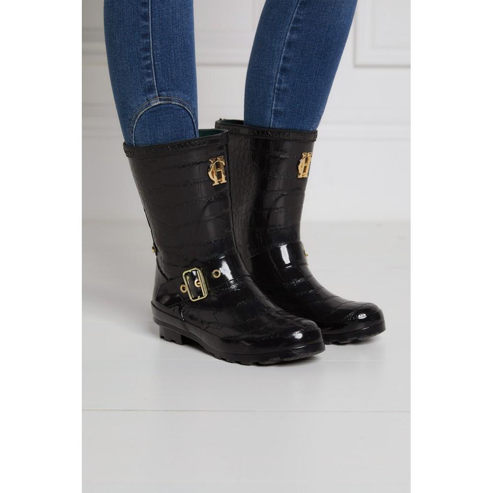 Holland Cooper Short Zip Chelsea Wellington Boots Black Croc