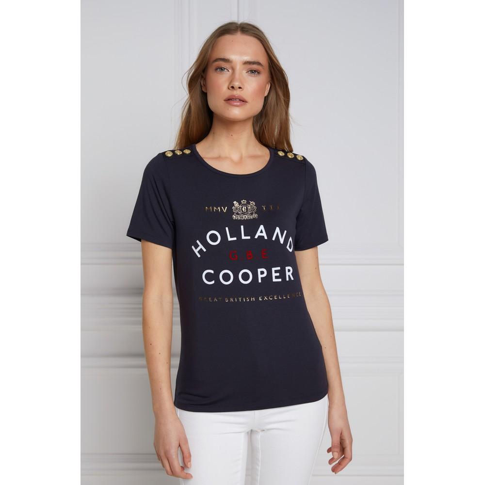 Holland Cooper GBE Flock Logo Tee Ink Navy