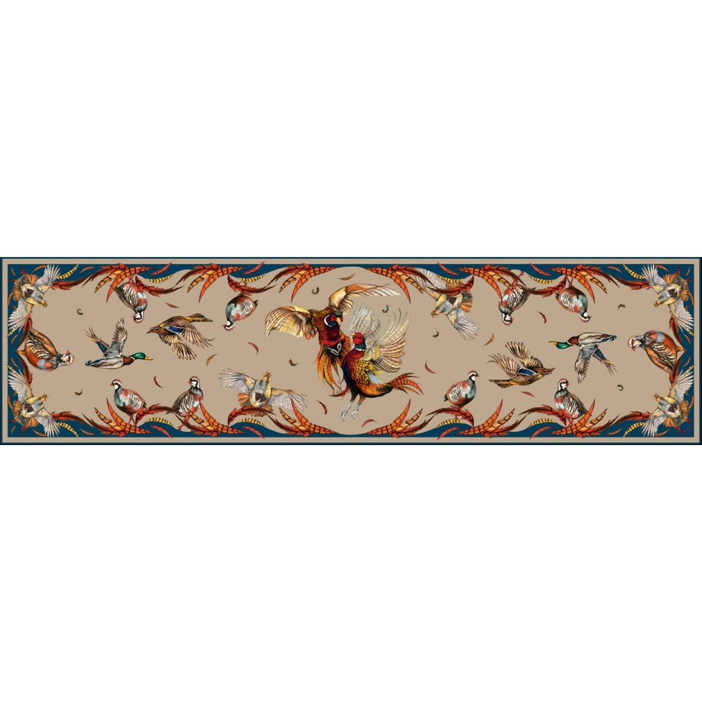 Clare Haggas Best In Show Classic Silk Scarf Toffee & Navy