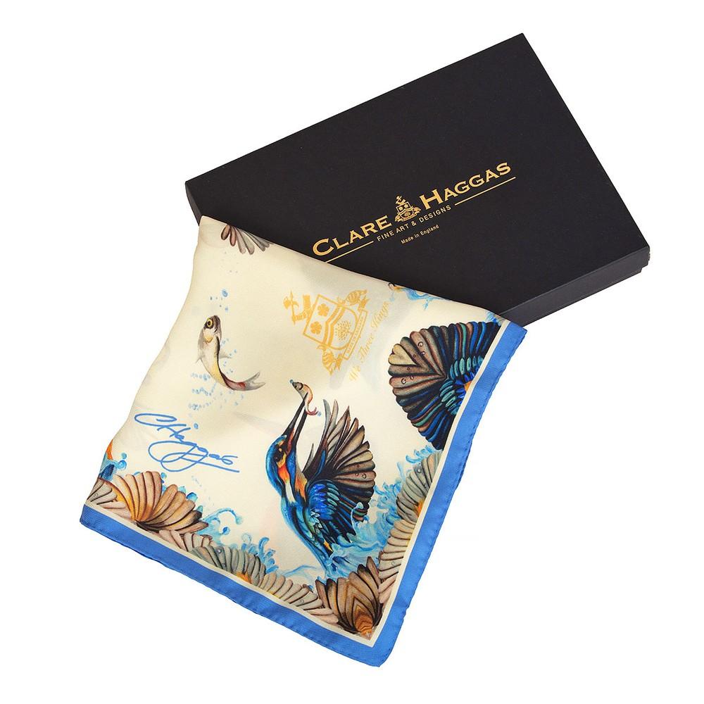 Clare Haggas We Three Kings Classic Silk Scarf Cream