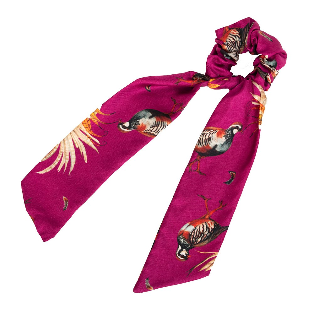 Clare Haggas Game Bird Silk Scrunchie - Long Tail