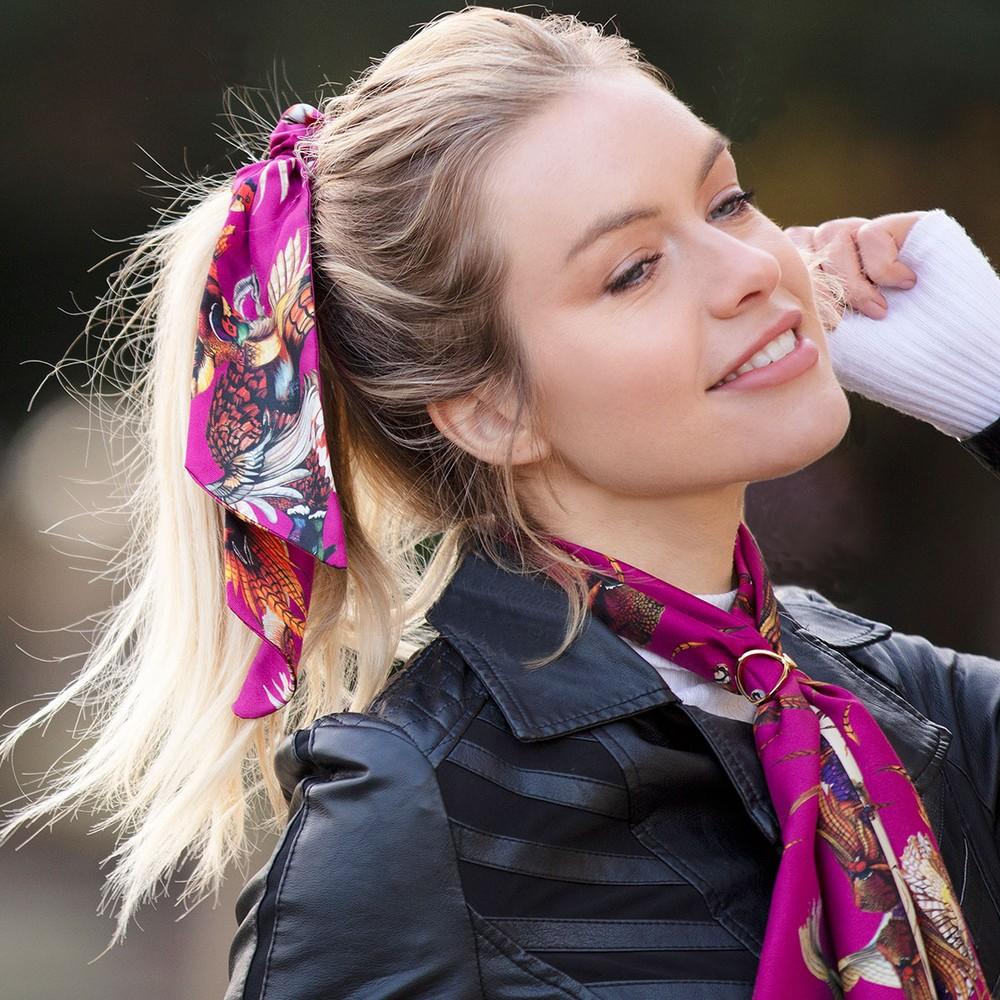 Clare Haggas Game Bird Silk Scrunchie - Long Tail Magenta