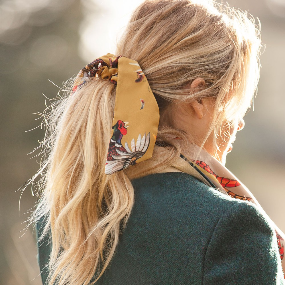 Clare Haggas Game Bird Silk Scrunchie - Medium Tail Gold