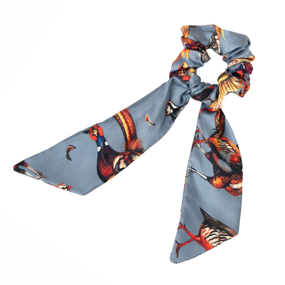 Clare Haggas Game Bird Silk Scrunchie - Medium Tail