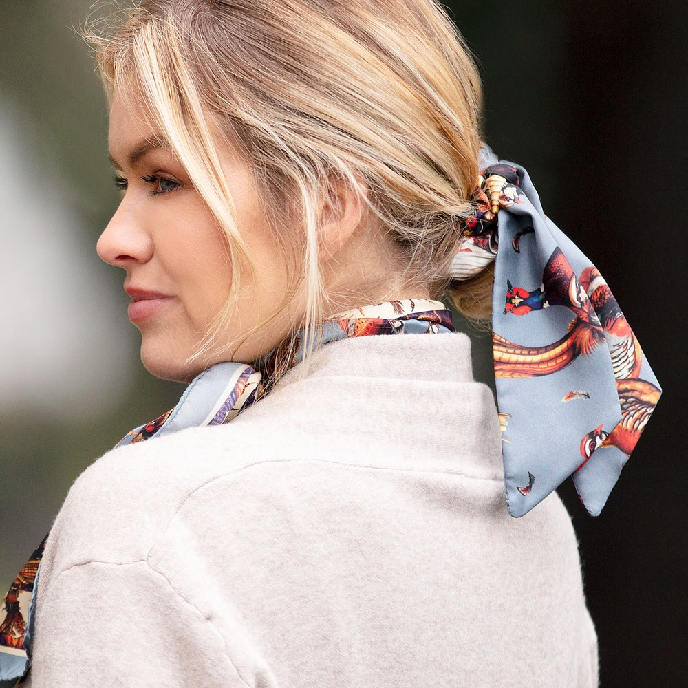 Clare Haggas Game Bird Silk Scrunchie - Medium Tail Pigeon
