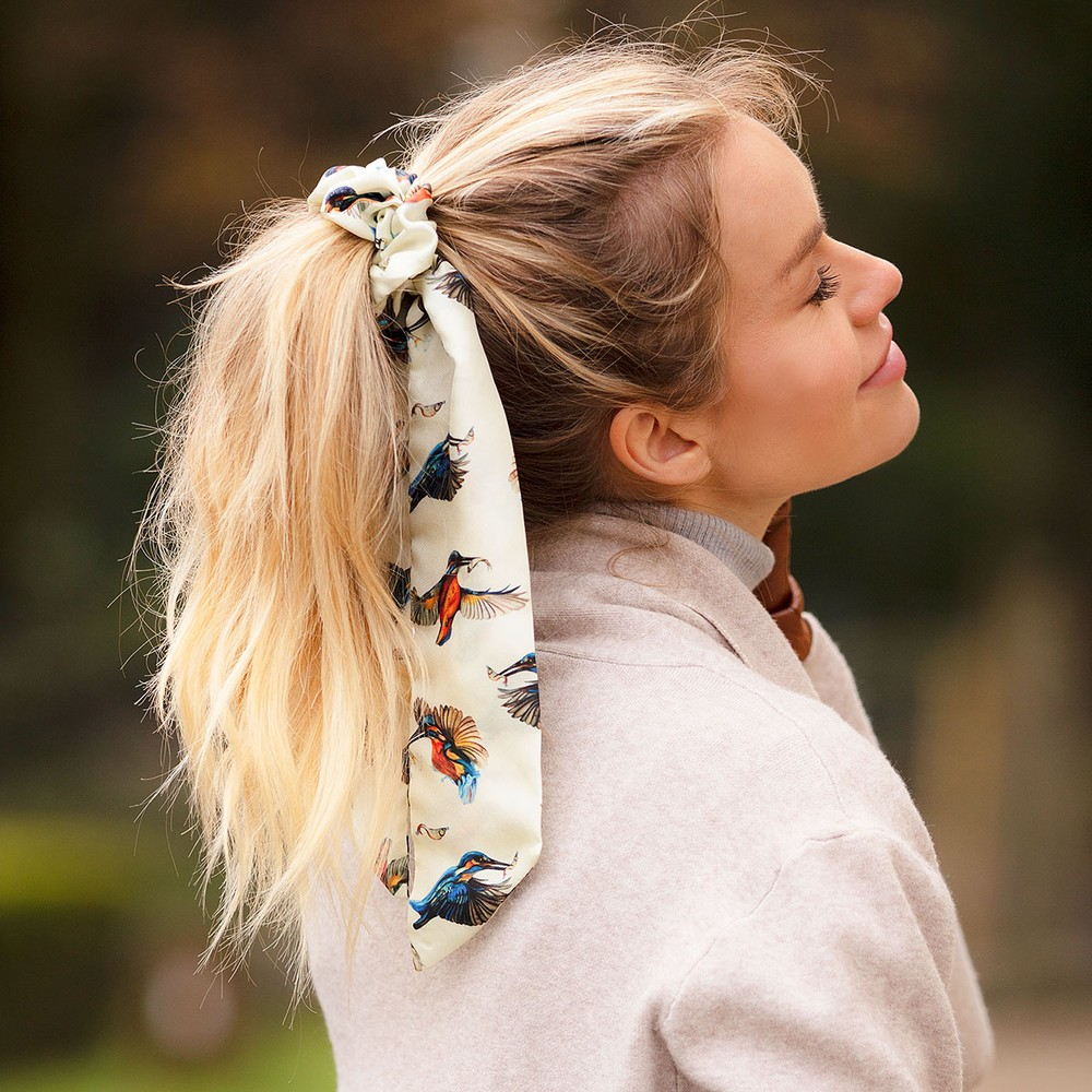 Clare Haggas We Three Kings Silk Scrunchie - Long Tail Cream