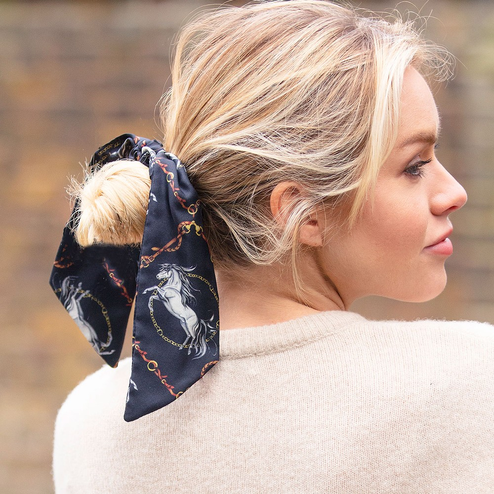 Clare Haggas Hold Your Horses Silk Scrunchie - Medium Tail Black/Gold