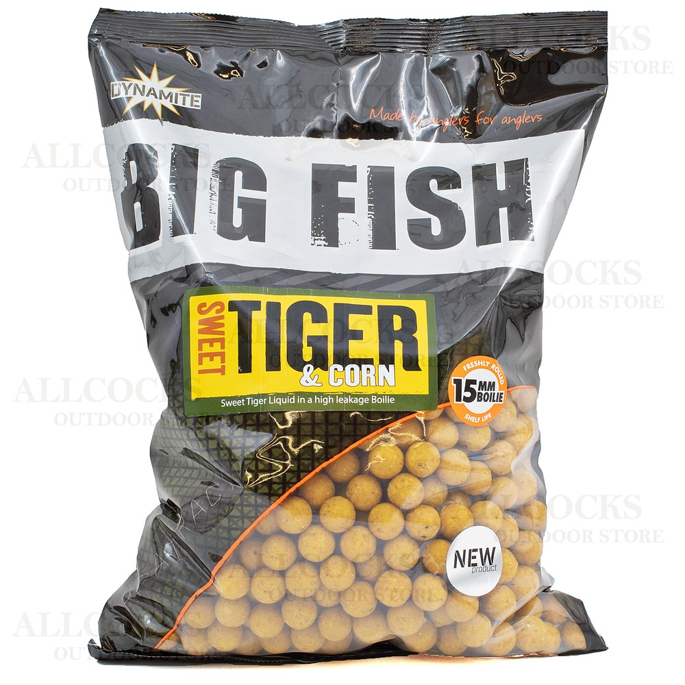 Dynamite Baits Big Fish Sweet Tiger & Corn Boilies - 15mm Yellow