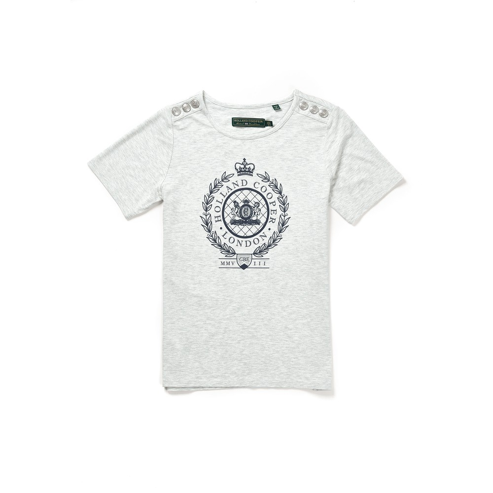 Holland Cooper Ornate Crest Tee Ice Marl
