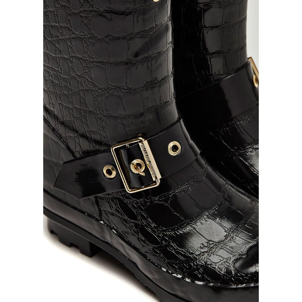 Holland Cooper Zip Chelsea Wellington Boots Black Croc