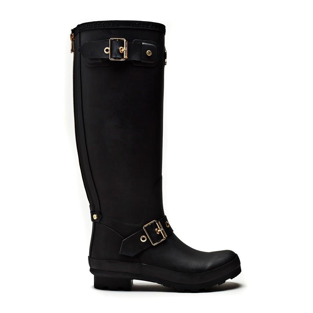 Holland Cooper Zip Chelsea Wellington Boots Matte Black