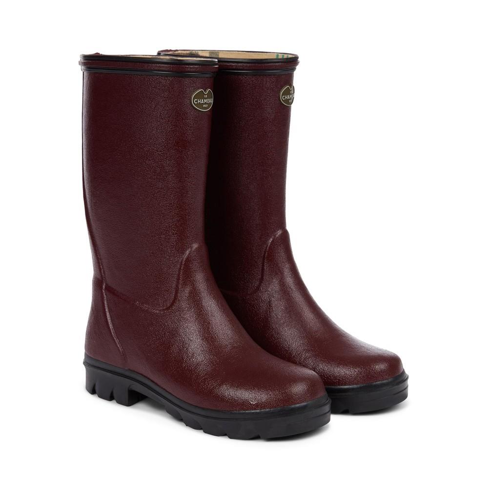 Le Chameau Petite Adventure Jersey Lined Children's Wellington Boots Cherry