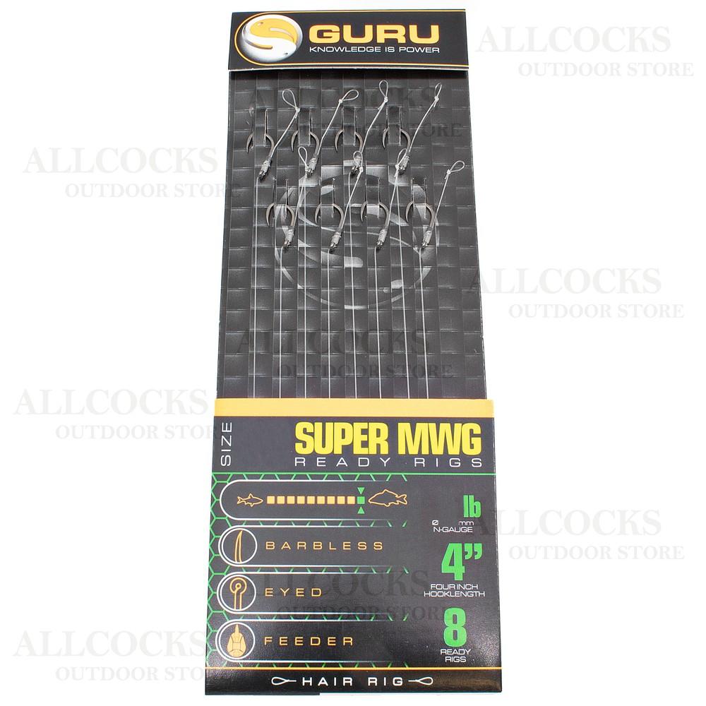 """Guru Standard Hair Rigs - 4"""" - SMWG Hook"""