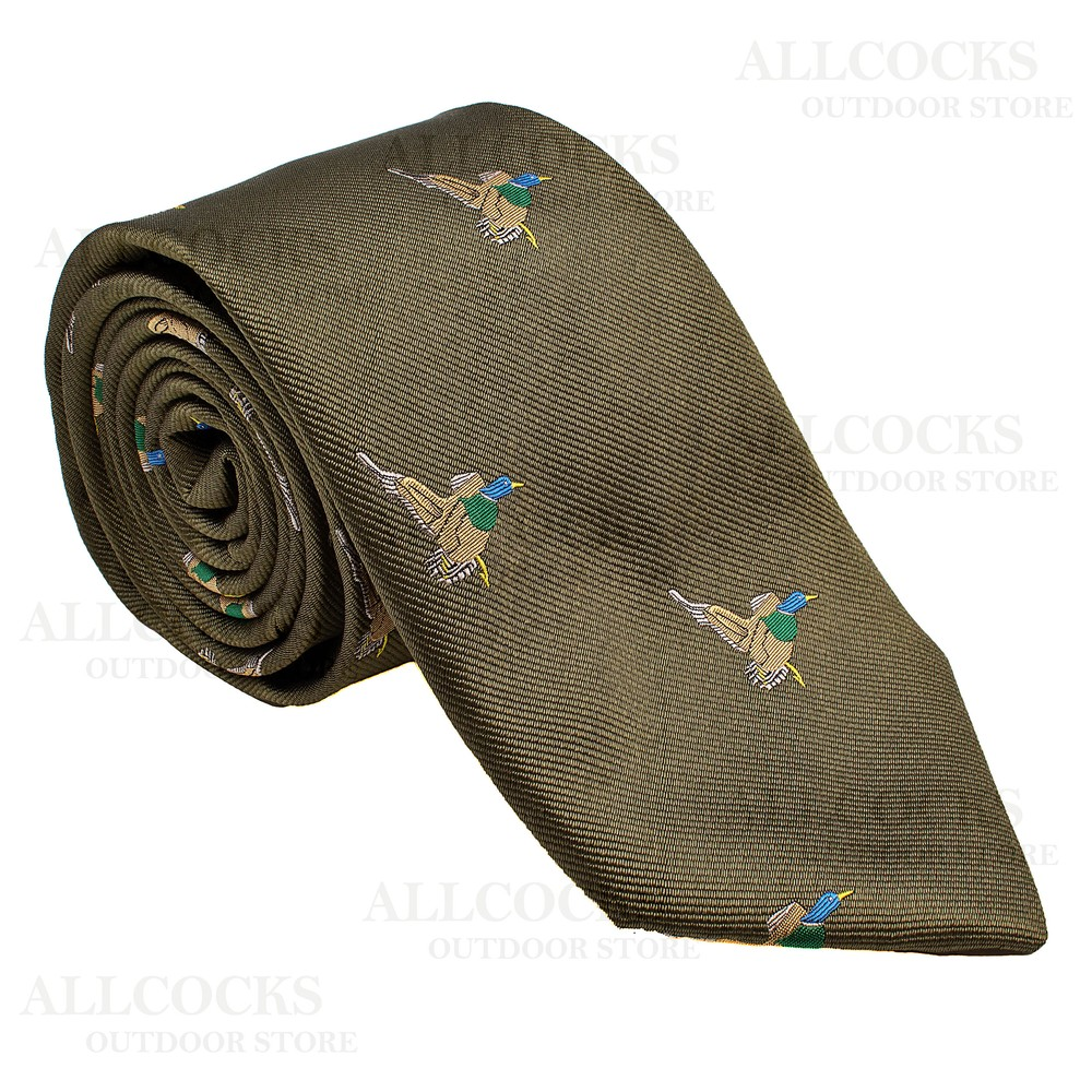 Allcocks Country Silk Tie - Woven Flying Ducks - Country Green