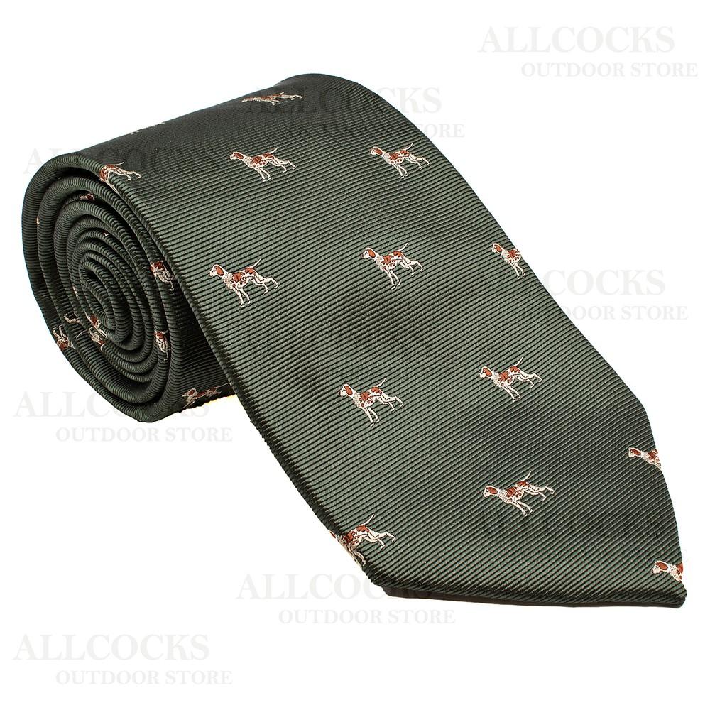 Allcocks Country Silk Tie - Woven Fox Hounds
