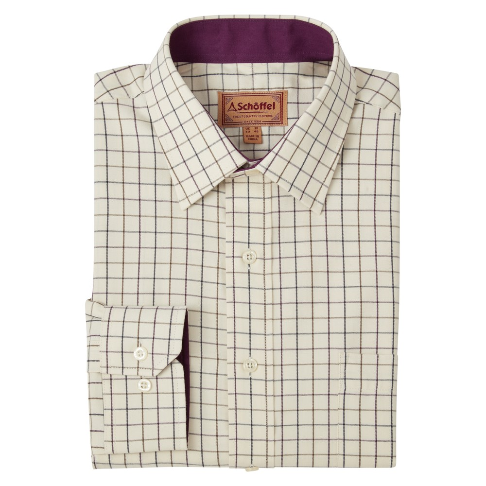 Schoffel Burnham Tattersall Classic Shirt Aubergine