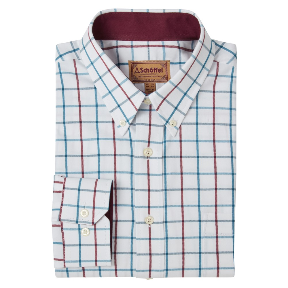 Schoffel Schoffel Brancaster Classic Shirt - Bordeaux/Dark Teal Wide