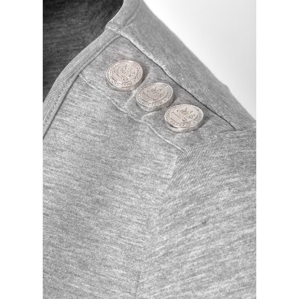 Holland Cooper Long Sleeve Vee Neck Tee Grey Marl