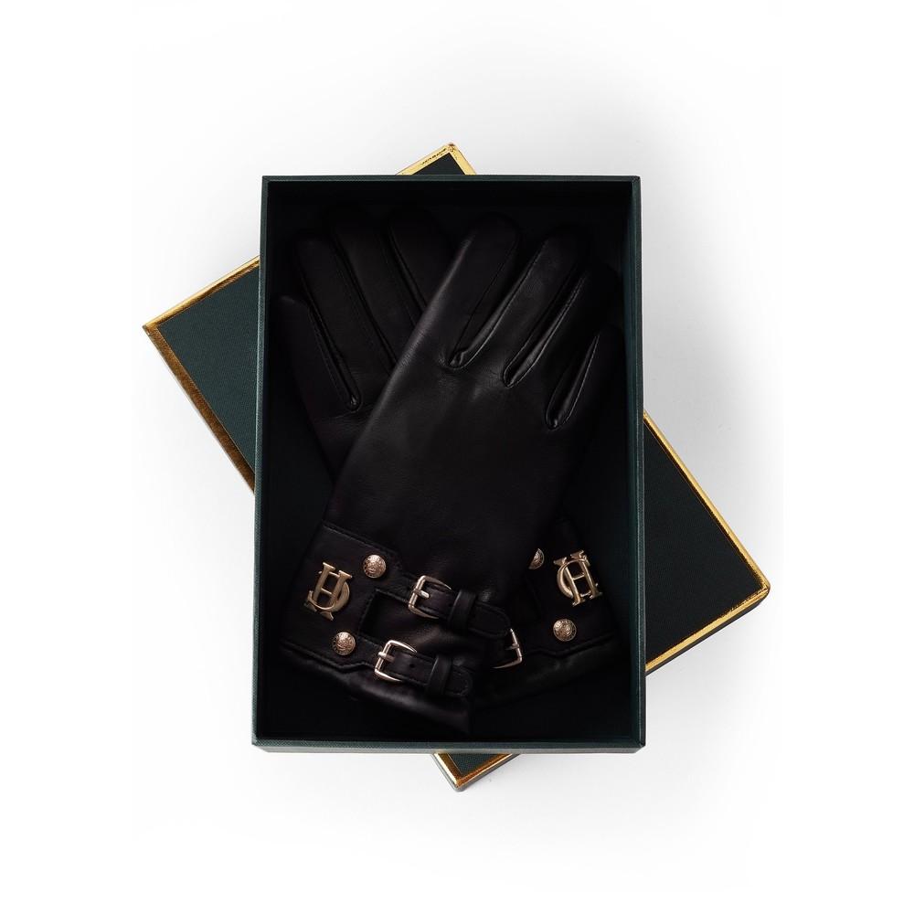 Holland Cooper Monogram Leather Gloves Black