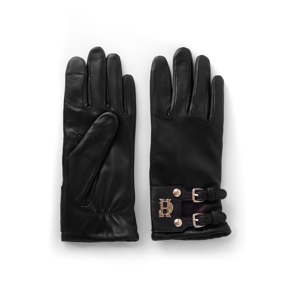 Holland Cooper Holland Cooper Monogram Leather Gloves - Black