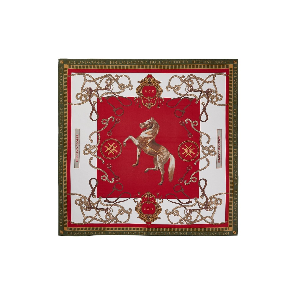 Holland Cooper Holland Cooper Regal Horse Silk Scarf in Racing Green Heritage Red