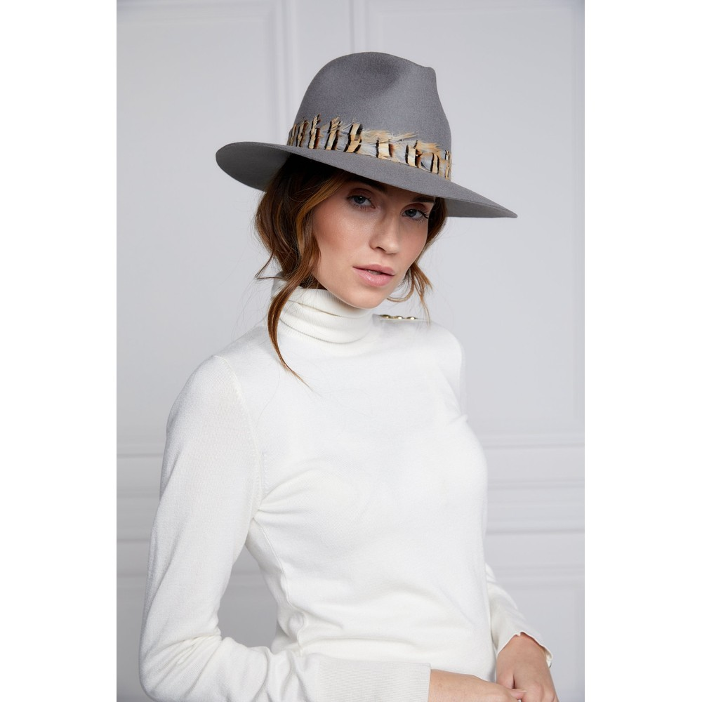 Holland Cooper Trilby Hat Double Feather Band Light Grey