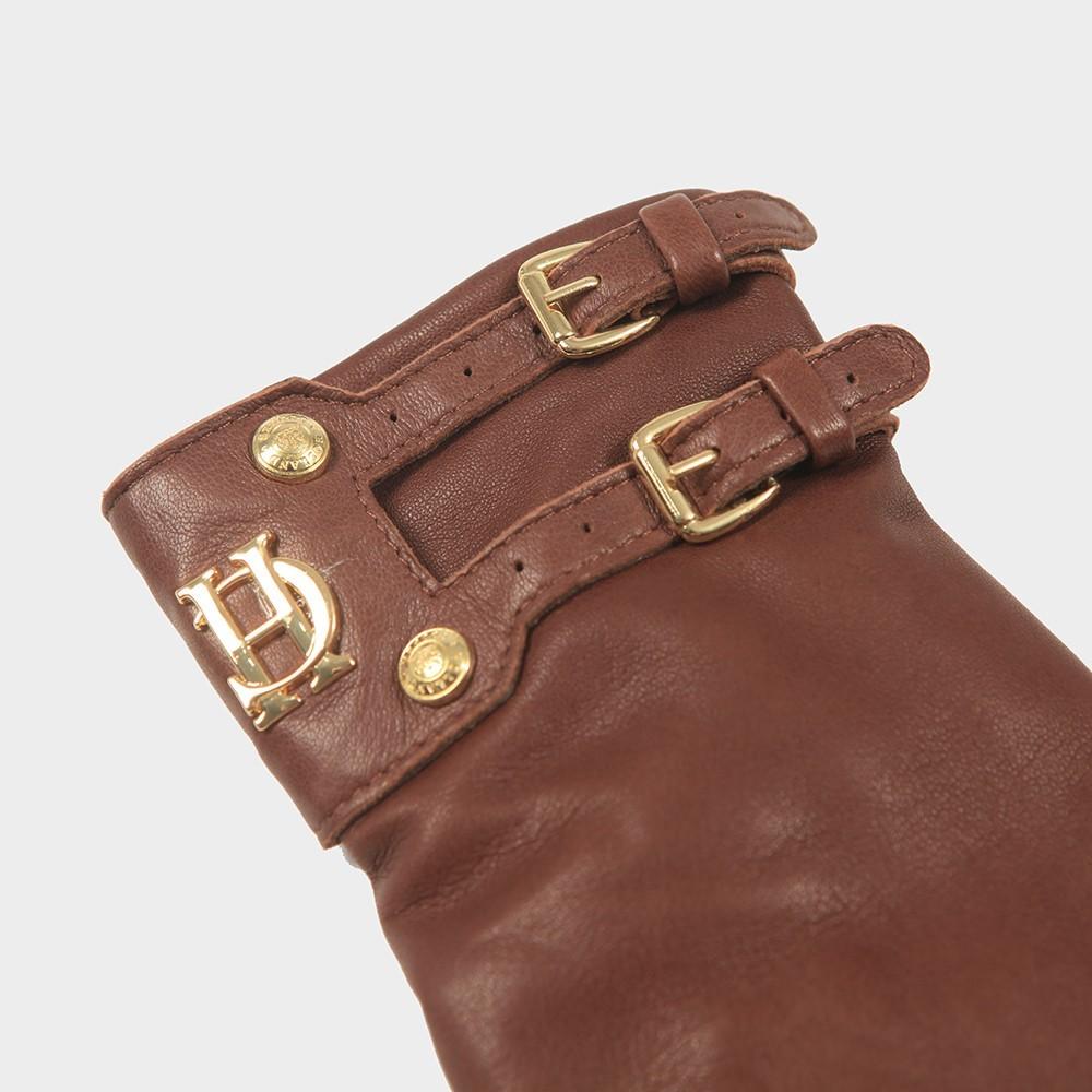 Holland Cooper Monogram Leather Gloves Tan