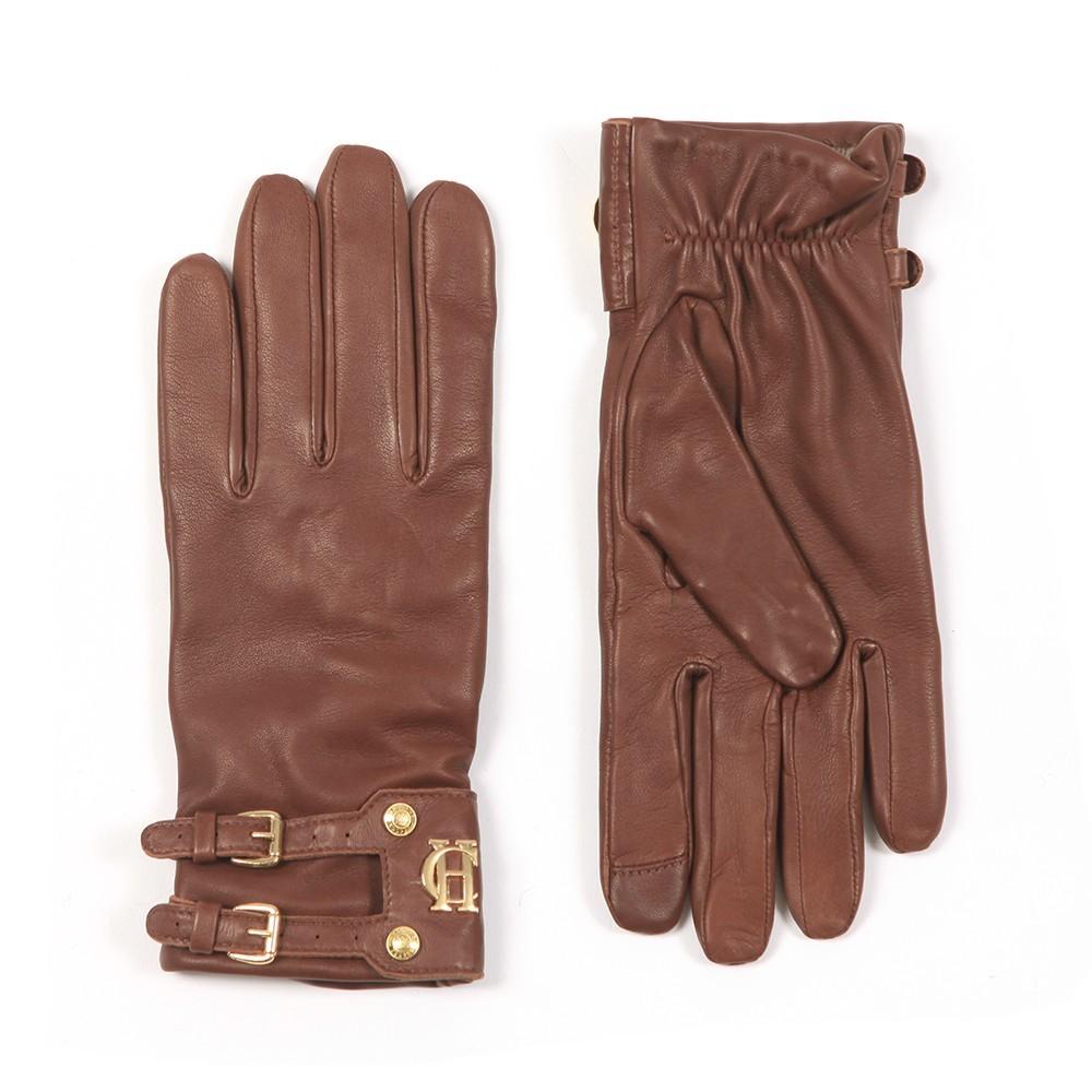 Holland Cooper Holland Cooper Monogram Leather Gloves - Tan