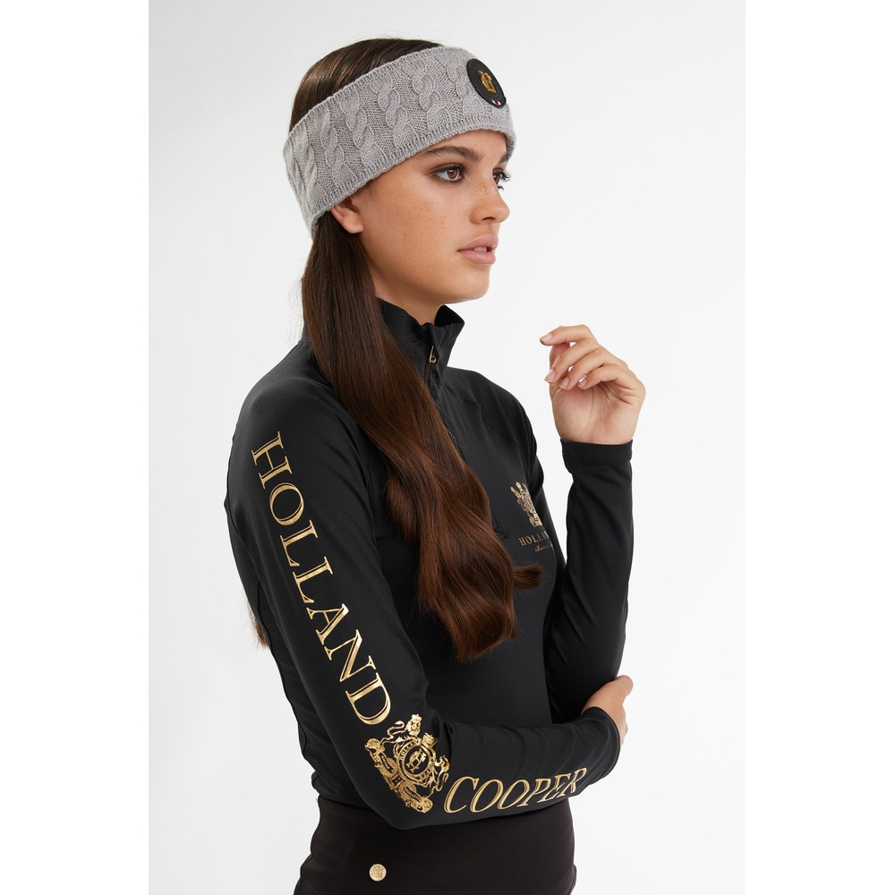 Holland Cooper Luxe Cable Knit Headband Grey Marl