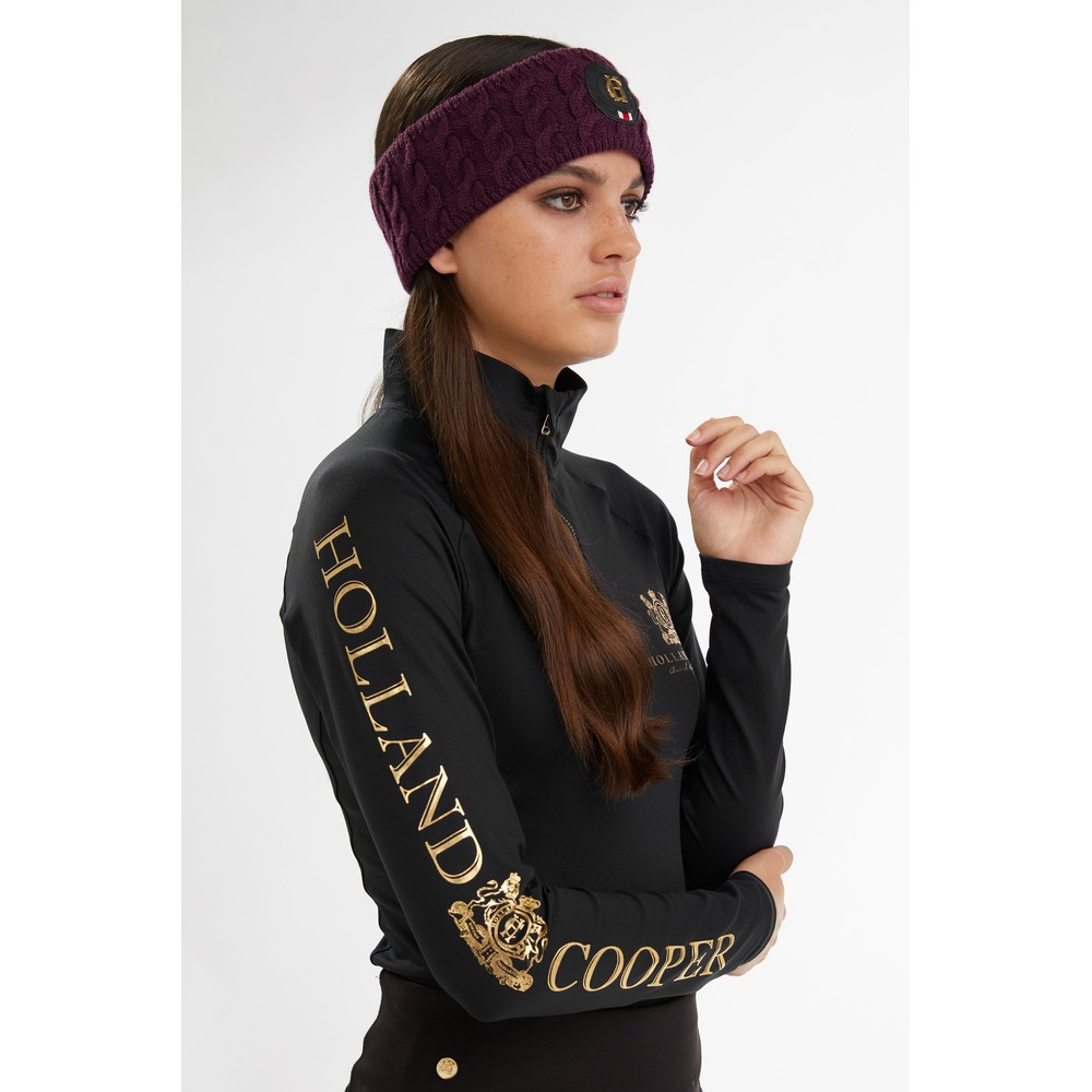 Holland Cooper Luxe Cable Knit Headband Mulberry