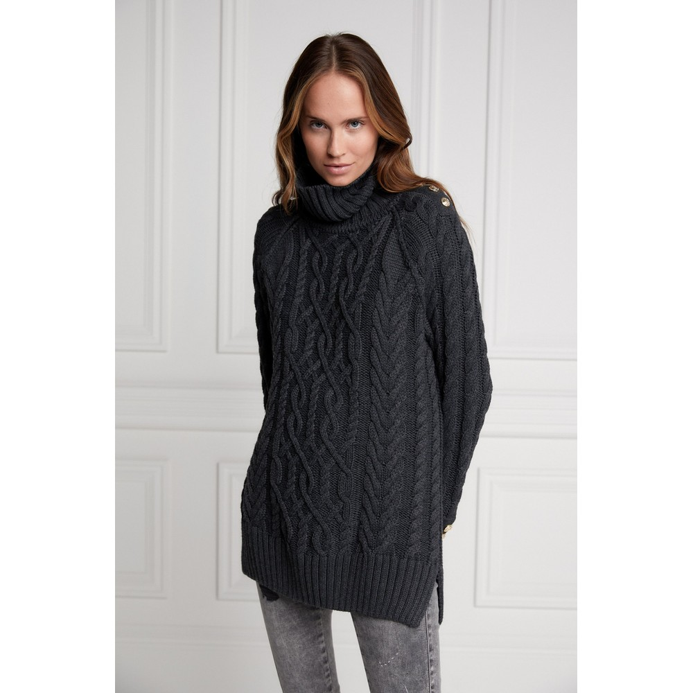 Holland Cooper Greenwich Cable Knit Dark Grey