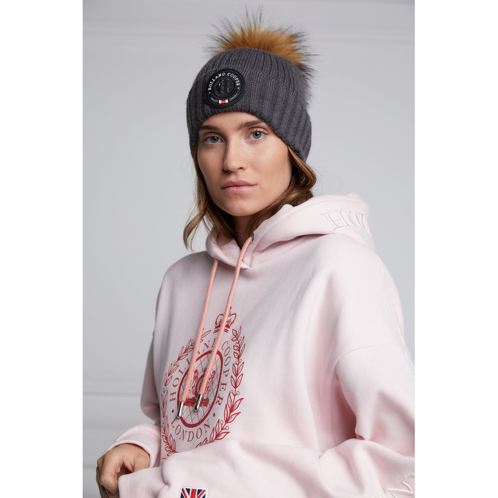 Holland Cooper Equi Knit Bobble Hat Charcoal